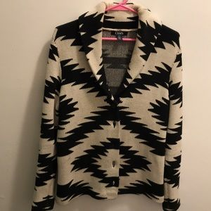Chaps button up sweater with Aztec design